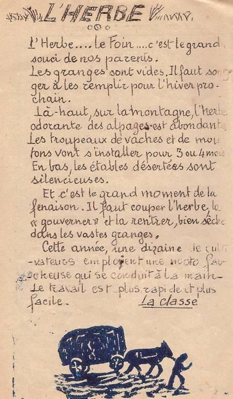 Journal scolaire de Passy, « Face au Mont-Blanc », juin 1950, p. 4, « L'herbe