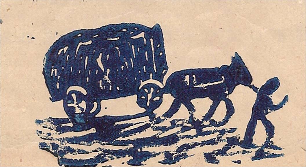 Linogravure du Journal scolaire de Passy, « Face au Mont-Blanc », juin 1950, p. 4