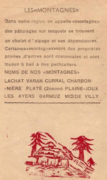 Journal scolaire de Passy, « Face au Mont-Blanc », juin 1950, p. 6 Les « montagnes » de la commune
