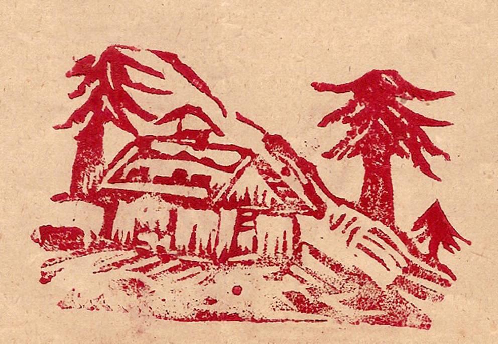 Linogravure du journal scolaire de Passy, « Face au Mont-Blanc », juin 1950, p. 6 Les « montagnes » de la commune