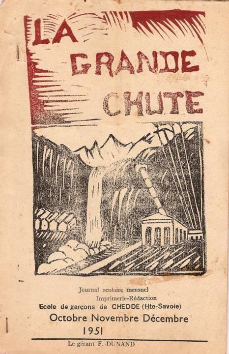 Couverture et dessin en linogravure choisi pour le journal scolaire de Chedde « La Grande Chute » en 1951.