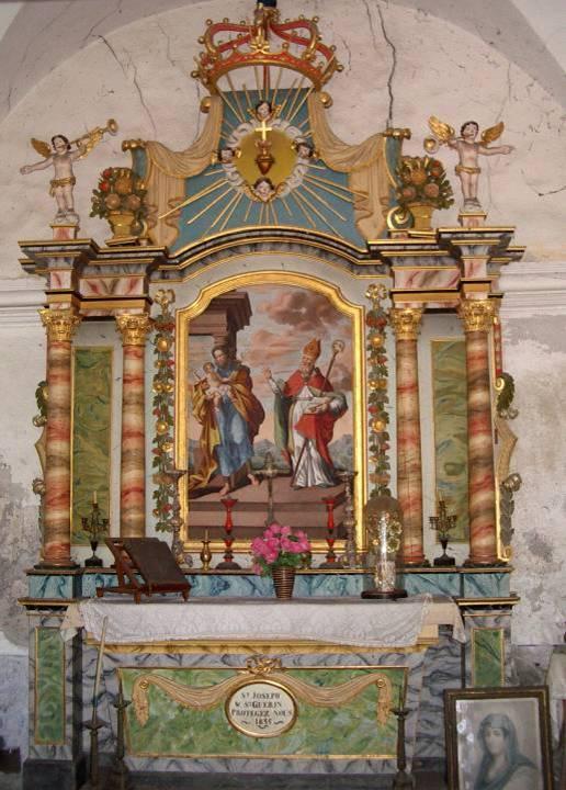 Retable de la chapelle de Maffrey dédié à saint Joseph et saint Guérin, 1835 (cliché Bernard Théry, 2013 ; voir aussi Vatusium n° 4, p. 15)