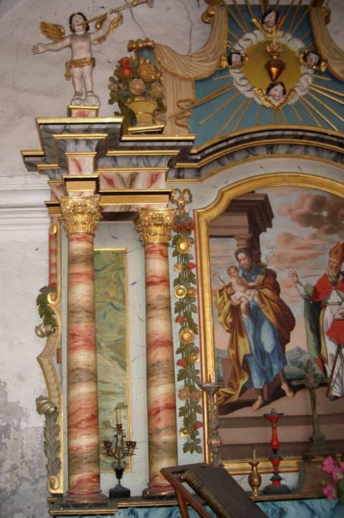 Retable de la chapelle de Maffrey, partie gauche (cliché Bernard Théry, 2013)