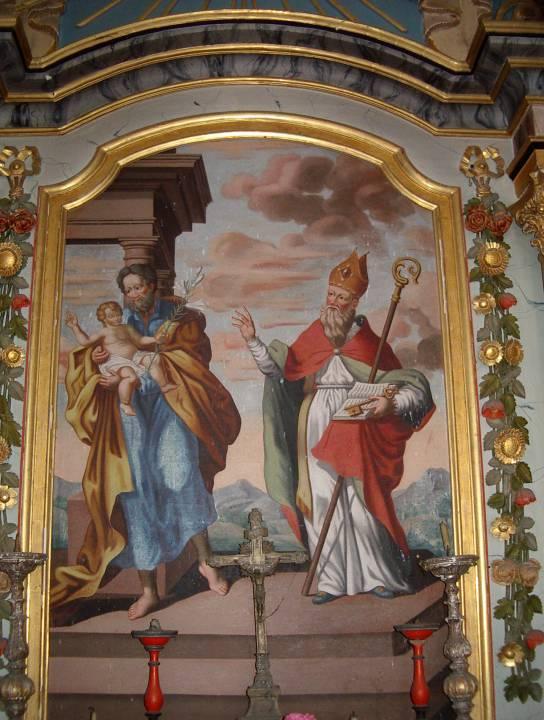 Retable de la chapelle de Maffrey, la toile du centre, 1835 : à gauche, saint Joseph et l'Enfant Jésus ; à droite, saint Guérin (cliché Bernard Théry, 2013)