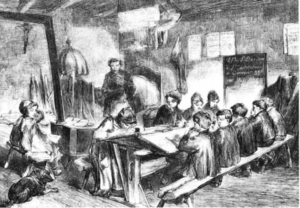 Une classe au XVIIIe siècle par Pierre-Laurent Potey, 1732-1794, maître d'école à Champagney (source Internet)
