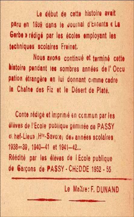 Présentation du conte par le maître, M. Fernand Dunand