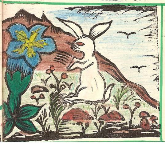 Conte « Trois petits lapins recherchent leur frère », école de Passy, 1940-42, p. 10, illustration de la séquence avec la gentiane bleue