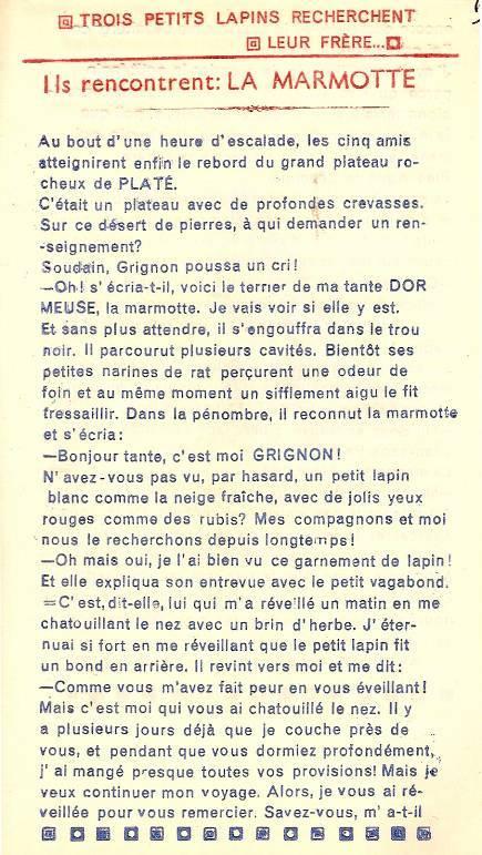 Conte « Trois petits lapins recherchent leur frère », école de Passy, 1940-42, p. 11, la marmotte