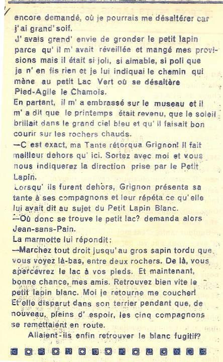 Conte « Trois petits lapins recherchent leur frère », école de Passy, 1940-42, p. 12, la marmotte (fin)