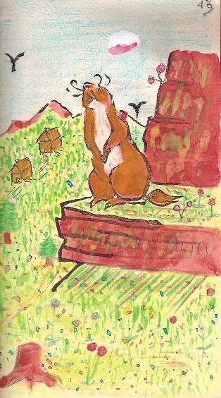 Conte « Trois petits lapins recherchent leur frère », école de Passy, 1940-42, p. 13, illustration de la séquence avec la marmotte