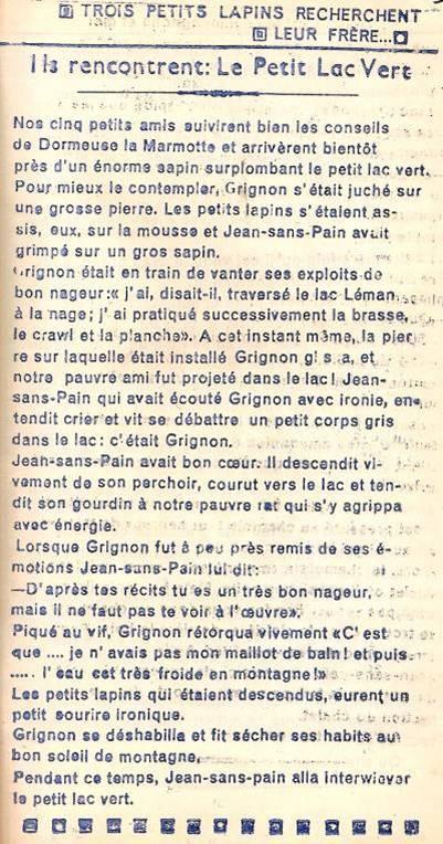 Conte « Trois petits lapins recherchent leur frère », école de Passy, 1940-42, p. 14, le Petit Lac Vert