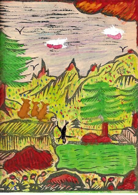 Conte « Trois petits lapins recherchent leur frère », école de Passy, 1940-42, p. 16, illustration de la séquence avec le petit Lac Vert