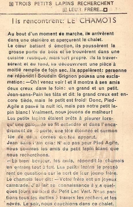 Conte « Trois petits lapins recherchent leur frère », école de Passy, 1940-42, p. 17, le chamois