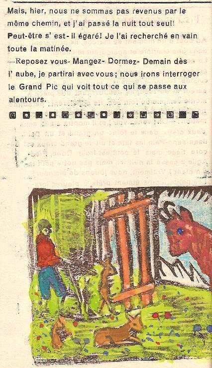 Conte « Trois petits lapins recherchent leur frère », école de Passy, 1940-42, p. 18 et illustration de la séquence avec le chamois