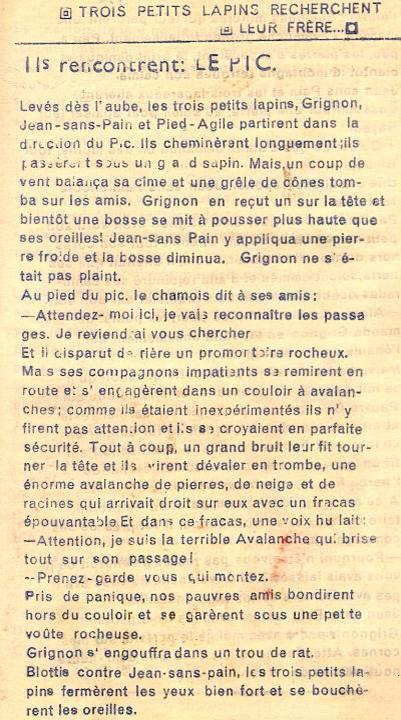 Conte « Trois petits lapins recherchent leur frère », école de Passy, 1939-42, p. 19, le Pic