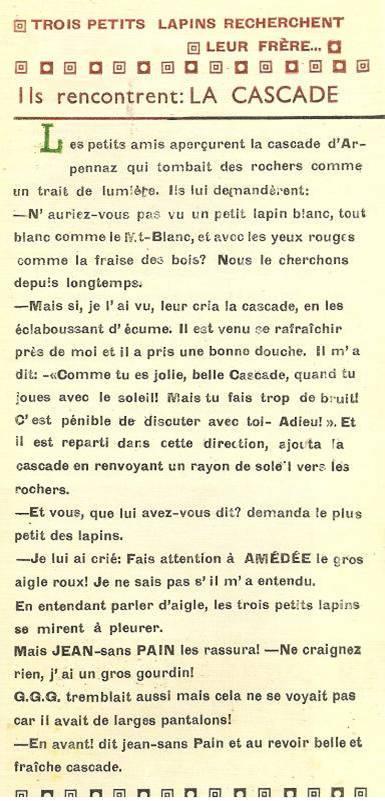 Conte « Trois petits lapins recherchent leur frère », école de Passy, 1940-42, p. 1 et 2, la cascade