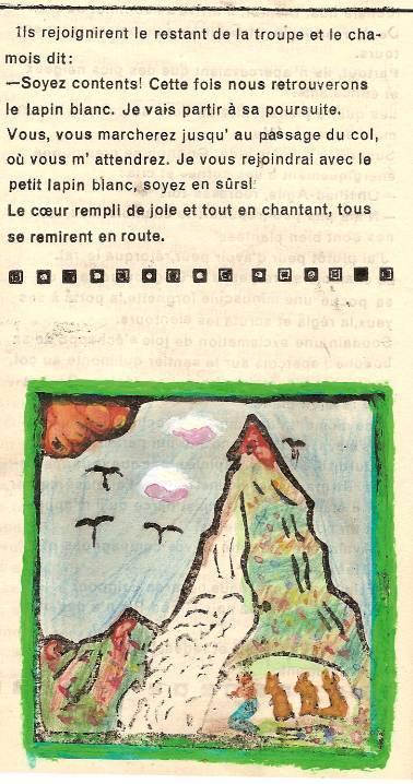 Conte « Trois petits lapins recherchent leur frère », école de Passy, 1939-42, p. 22 et illustration de la séquence avec le Pic