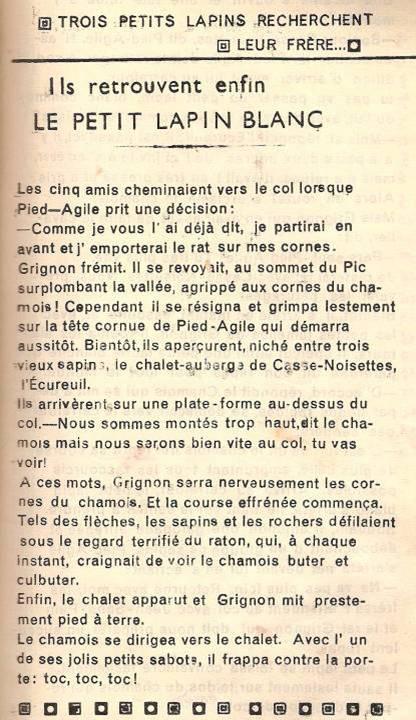 Conte « Trois petits lapins recherchent leur frère », école de Passy, 1939-42, p. 23, les retrouvailles