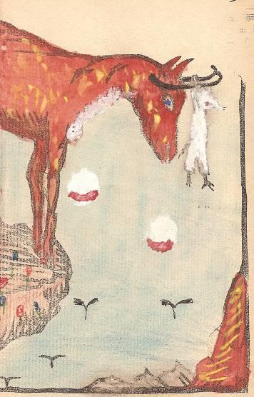 Conte « Trois petits lapins recherchent leur frère », école de Passy, 1939-42, p. 25, illustration de la séquence avec le chamois