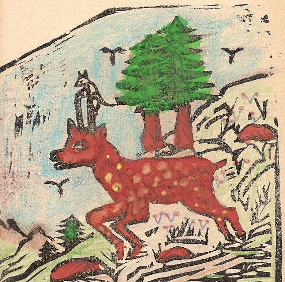 Conte « Trois petits lapins recherchent leur frère », école de Passy, 1939-42, p. 26, illustration de la séquence avec le chamois