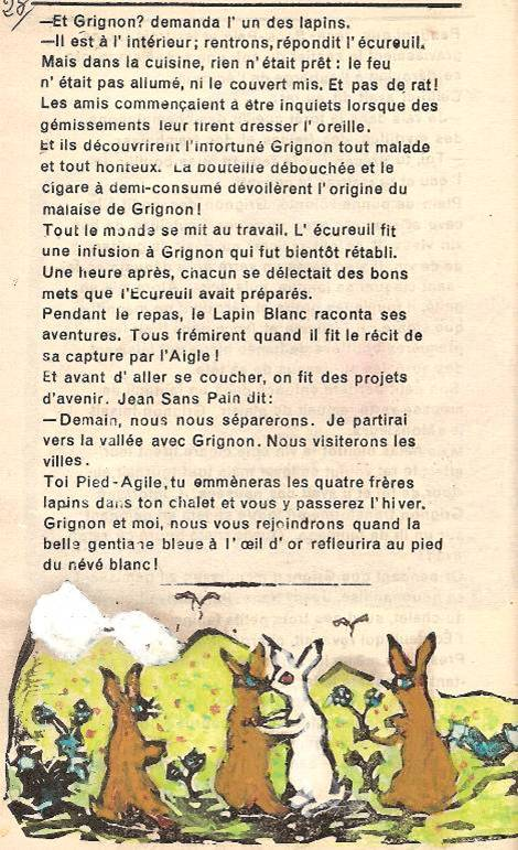Conte « Trois petits lapins recherchent leur frère », école de Passy, 1939-42, p. 28 et illustration de la séquence des retrouvailles