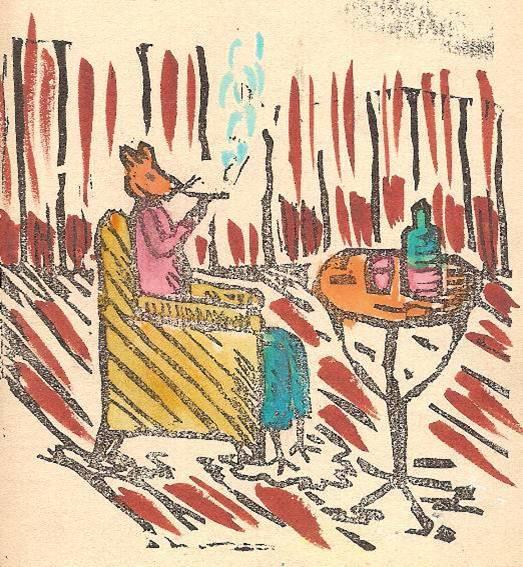 Conte « Trois petits lapins recherchent leur frère », école de Passy, 1939-42, p. 29, illustration de la séquence avec Grignon dans le chalet