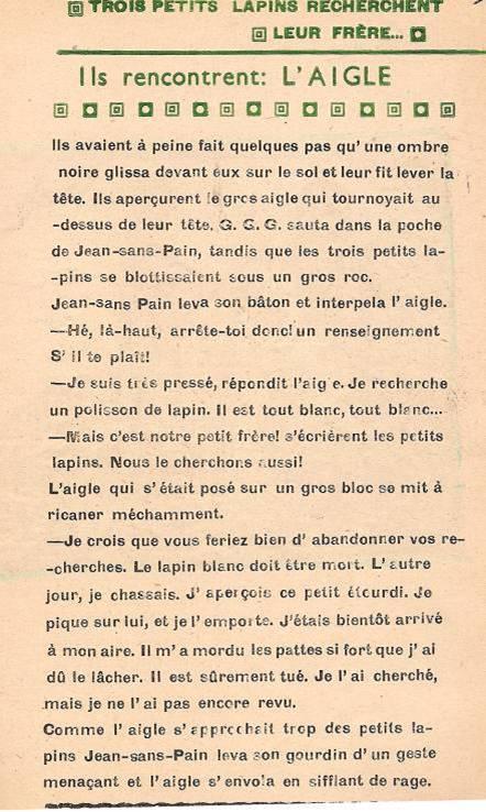 Légende : Conte « Trois petits lapins recherchent leur frère », école de Passy, 1940-42, p. 4, l'aigle