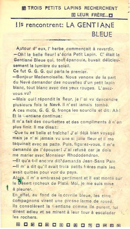 Conte « Trois petits lapins recherchent leur frère », école de Passy, 1940-42, p. 8, la gentiane bleue