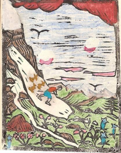 Conte « Trois petits lapins recherchent leur frère », école de Passy, 1940-42, p. 9, illustration de la séquence avec le névé
