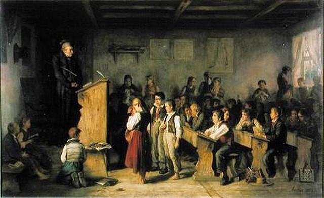 Albert Anker (peintre suisse, 1831-1910), Ecole de village en Forêt Noire (source Internet)