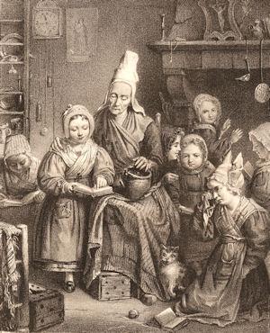 La maîtresse d'école, par Quesnel, 1830 (source : site Le temps des instituteurs)