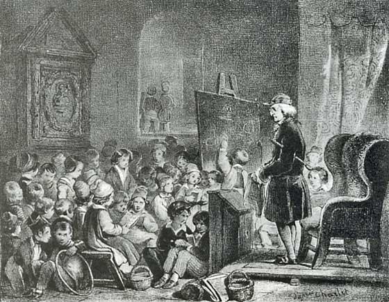 Maître d'école en 1830, lithographie de M. Alophe, d'après Charlet.