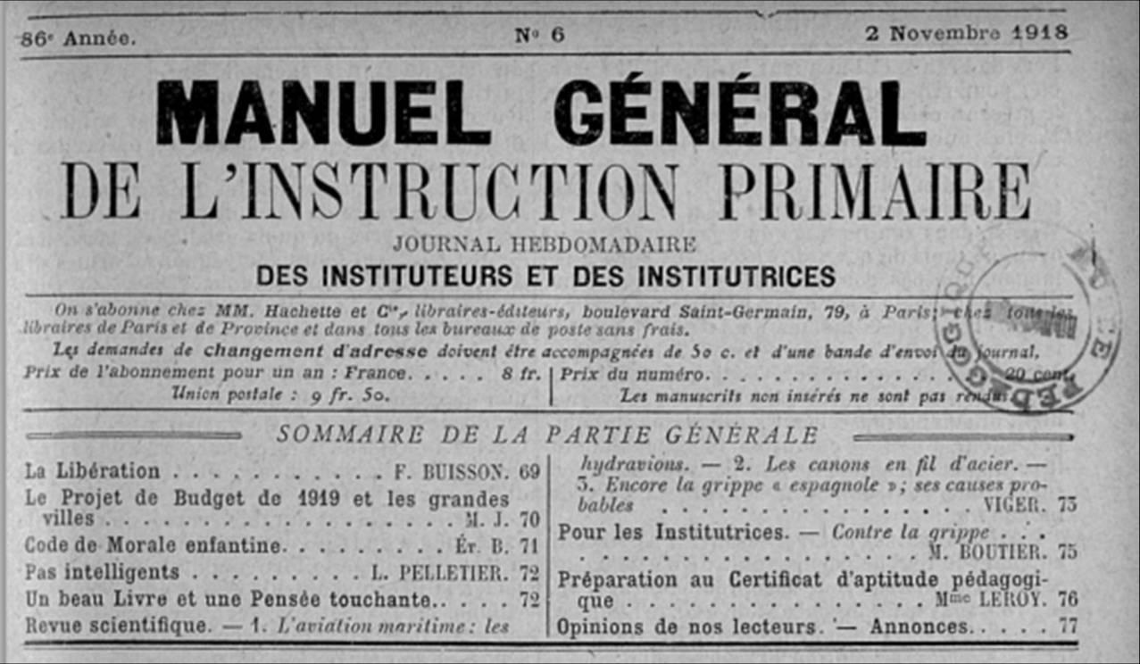 Un exemple du Manuel général de l'instruction primaire : 86e année, n° 6, 2 novembre 1918 (site INRP)
