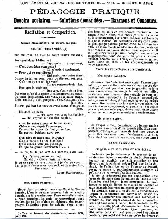Journal des instituteurs, 24e année n° 51, dimanche 18 décembre 1881, Pédagogie pratique, p. 569 : Cours supérieur : Ce qu'il faut pour être un bon élève.