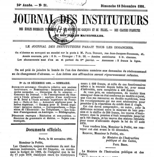 Un exemple du Journal des instituteurs : 24e année n° 51, dimanche 18 décembre 1881 (site INRP) :
