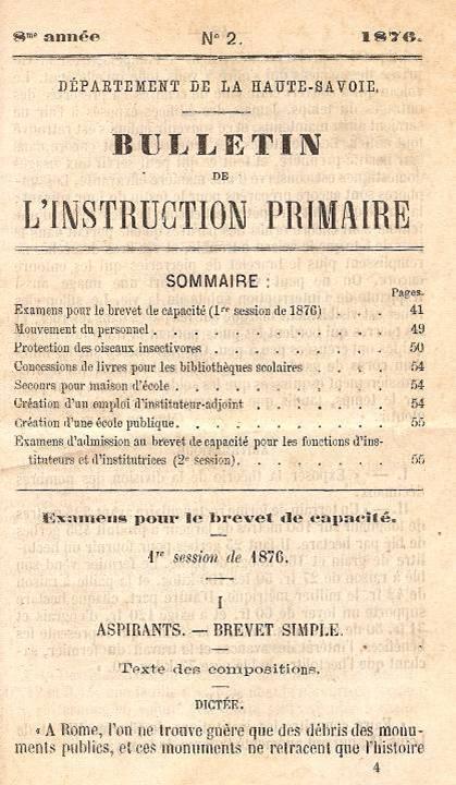 Haute-Savoie, Bulletin de l'instruction primaire : 6e année, n° 2, 1876, Sommaire