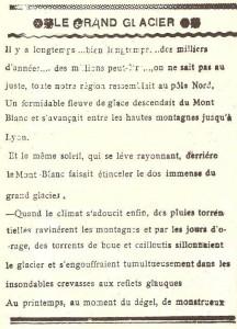 Journal scolaire de Combloux, 1932, texte de l'instituteur M. Fernand Dunand, « Le grand glacier », p. 1
