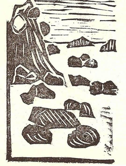 Journal scolaire de Combloux, 1932, texte de l'instituteur M. Fernand Dunand, « Le grand glacier », linogravure de la p. 2