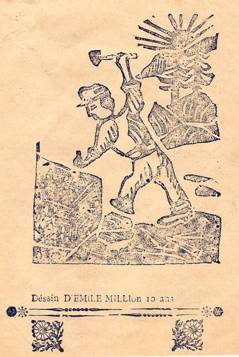 M. Fernand Dunand, Journal scolaire de Combloux, 1932, « Visite aux carrières », p. 11, dessin d'Emile Million, 10 ans