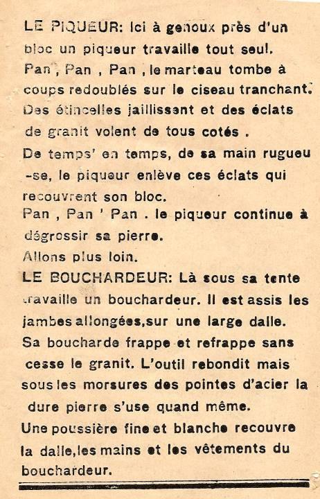 M. Fernand Dunand, Journal scolaire de Combloux, 1932, « Visite aux carrières », le piqueur, le bouchardeur, p. 12