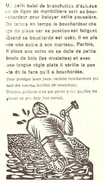 M. Fernand Dunand, Journal scolaire de Combloux, 1932, « Visite aux carrières »,  le travail du bouchardeur, p. 13