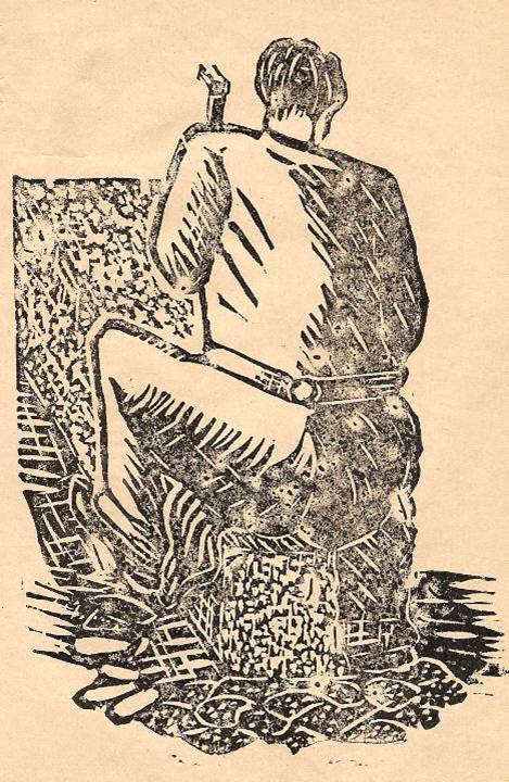 M. Fernand Dunand, Journal scolaire de Combloux, 1932, « Visite aux carrières », p. 14, linogravure : le bouchardeur