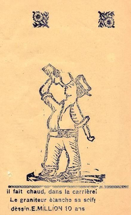 M. Fernand Dunand, Journal scolaire de Combloux, 1932, « Visite aux carrières », p. 15, « Le graniteur étanche sa soif », dessin d'Emile Million, 10 ans
