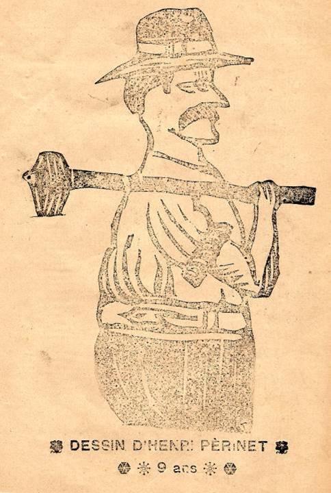 M. Fernand Dunand, Journal scolaire de Combloux, 1932, « Visite aux carrières », p. 16 linogravure, dessin d'Henri Périnet, 9 ans