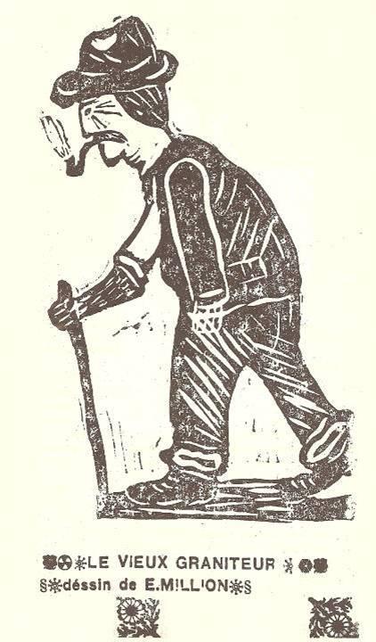 M. Fernand Dunand, Journal scolaire de Combloux, 1932, « Visite aux carrières », p. 15, « Le vieux graniteur », dessin d'Emile Million, 10 ans
