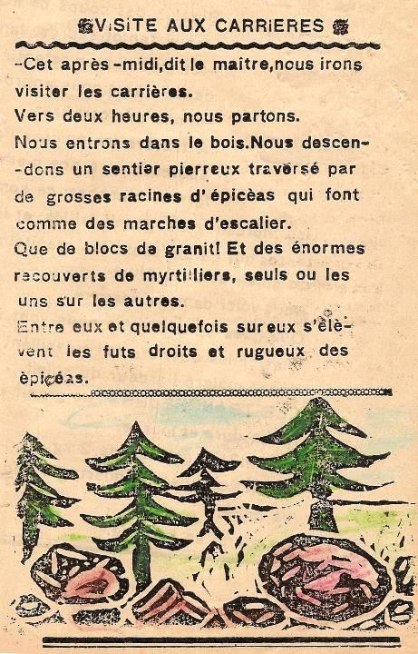 M. Fernand Dunand, Journal scolaire de Combloux, 1932, « Visite aux carrières », p. 6