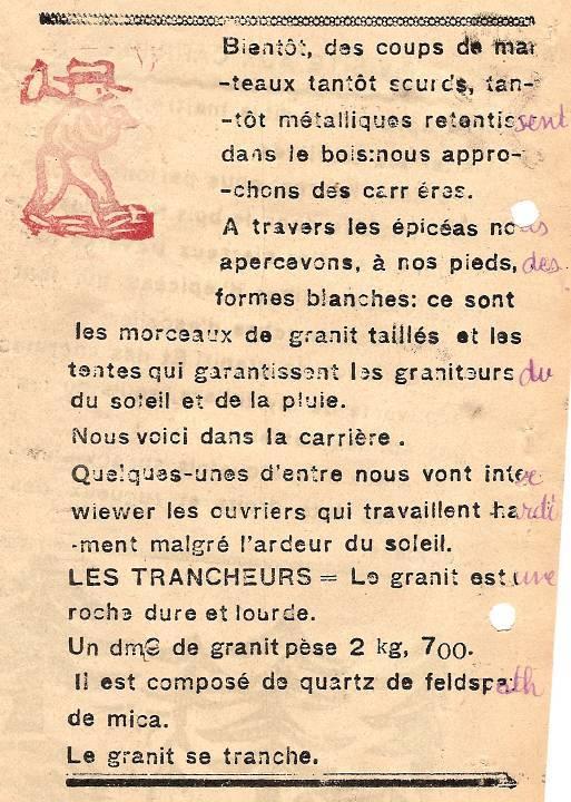 M. Fernand Dunand, Journal scolaire de Combloux, 1932, « Visite aux carrières », p. 7
