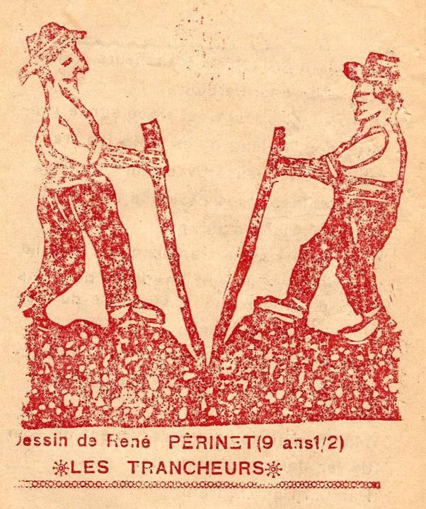 M. Fernand Dunand, Journal scolaire de Combloux, 1932, « Visite aux carrières », linogravure « Les trancheurs », p. 8, dessin de René Périnet, 9 ½ ans