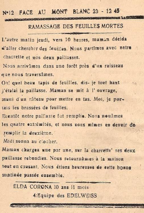 Journal scolaire de Passy « Face au Mont-Blanc », décembre 1945, p. 6 Ramassage des feuilles mortes, par Elda Corona