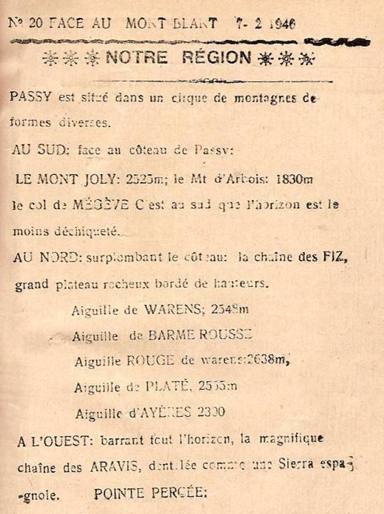 Journal scolaire de Passy, « Face au Mont-Blanc », février 1946, p. 3, « Notre région » par Pierre Thierriaz, 12 ans.
